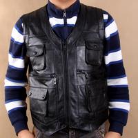 Men's genuine leather vest genuine leather vest cowhide sheepskin vest sheep leather vest the elderly