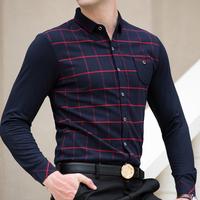 Male long-sleeve plaid shirt easy care 100% cotton slim shirt business casual men's clothing 2014 autumn