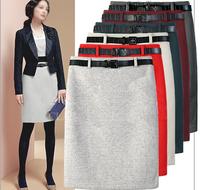 2014 formal plus size high waist slim hip woolen step skirt professional bust skirt autumn and winter
