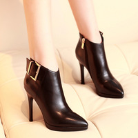 2014 Fashion Martern Autumn boots Genuine Leather shoes women high heels boots fashion boots ankle length single boots