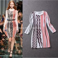 New Arrival Fashion Women's Fall 2014 Elegant Runway Long-Sleeve Knee Length Stripe Print Slim Autumn Dress Free Shipping