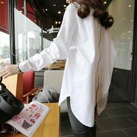 Autumn shirt female long-sleeve loose medium-long plus size clothing white fluid top white shirt bf