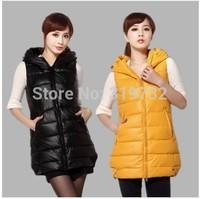 New 2014 fashion Autumn winter plus size thick hooded down wadded vest medium-long slim waistcoat women warm vest Free Shipping