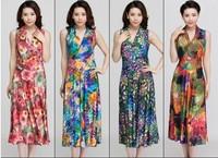 Good quality Summer v-neck dress plus size milk, silk dress beach dress HL140926-A