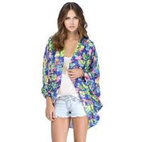 Brand New 2015 Fashion Womens Blue&Green Floral Print No Button Cardigan Kimono Stylish Shirt Blouse Blouses Blusa