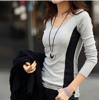 2014 autumn new Korean female models hot fashion casual long-sleeved round neck stitching bottoming shirt free shipping