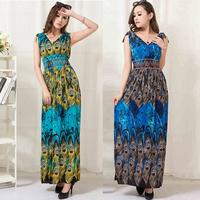 fashion floor length Print Bohemian maxi dress Women Plus Size dress Free shipping milk silk V-neck peacock dress HL140926-a