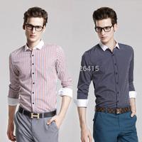 Free Shipping 2014 New Arrival Men's Small Square Plaid Casual Shirt Fashion Long-sleeve Mens Dress Shirts Slim Fit Camisas