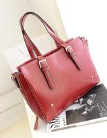 A woman in fashion bag black wine red green blue leather solid shoulder bag handbag2014 new arrival autumn handbag