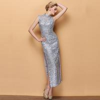 New Fashion Sexy Silvery Grey Stand Collar Chinese Traditional Dress Long Design Cheongsam Formal dress cutout paillette  Dress