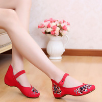 Cotton red, handmade embroidery, women shoes