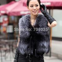 2014 new fashion women short design artificial leather vest female sweater vest fur cape coat winter outerwear