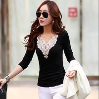 Autumn Women's Clothing Long Sleeve V-neck Lace Collar Cotton Tops Vintage Bodycon Elegant Basic T Shirt Blusas Femininas