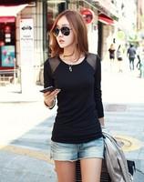 2014 autumn women's o-neck long-sleeve patchwork gauze 100% cutout cotton t-shirt shirt basic shirt female