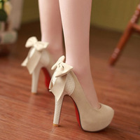 women's shoes new 2014 fashion sexy goddess high-heeled shoes waterproof bowknot is fine with round head after women's shoes