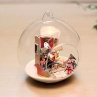 Christmas Diy assembling model house mini glass ball house series voice-activated light belt