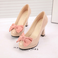 Formal shoes thick heel shoes high-heeled shoes bow japanned leather round toe leather small single shoes women's shoes