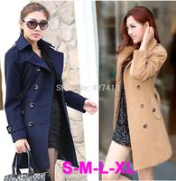 Free Shipping 2014 Women Coat New Fashion Women's Slim Wool blended Coat Winter outwear women plus size S,M,L,XL