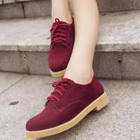 Autumn lacing round toe low-heeled shoes single female velvet scrub shoes female 2014 platform