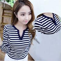 Fast/Free Shipping New 2014 Autumn Female Slim Long-sleeve V-neck Casual Basic t shirt Women T-shirt Clothing B8500