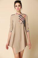 2014 autumn irregular stripe square grid color block patchwork outfit elegant Cotton one-piece dress winter dress women