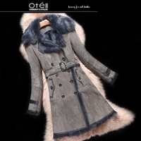 2014 Winter new wool fur one piece female medium-long double breasted slim wool outerwear high quality parka coat free shipping