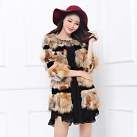 Luxurious fox fur coat female rabbit fur patchwork medium-long 2014