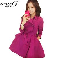 Autumn 2014 women medium-long double breasted trench female elegant slim outerwear female coat