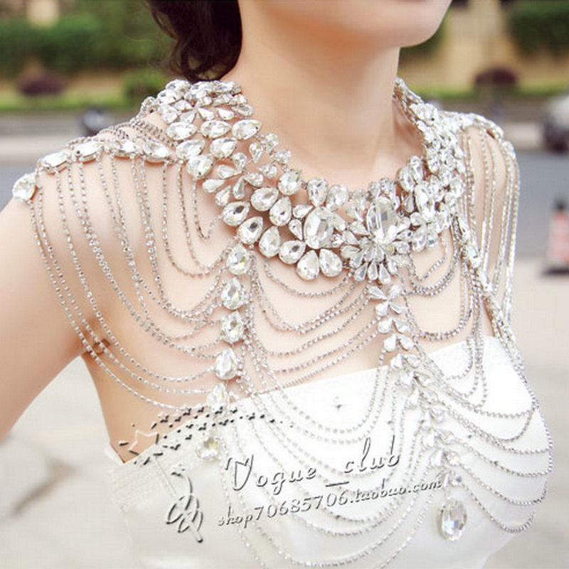 Clothing lover luxurious crystal diamond necklace rhinestone bride cape chain tube top wedding dress(China (Mainland))