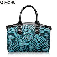 Zebra print fashion 2014 women's cowhide handbag portable color block trend cross-body bags