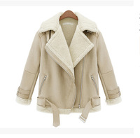 2014 Autumn And Winter Women Suede Jacket Short Design Thickening Lamb's Wool Jacket 3 Color For Sale Free Shipping