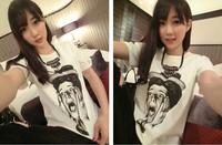 2014 summer male print basic women's T-shirt short-sleeve shirt female
