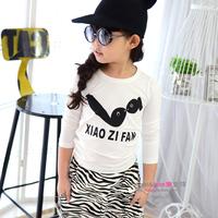 New 2014 Grils Cotton T shirt Double Fish Long Sleeve Children Outerwear T-Shirts Fashion Beautiful Style