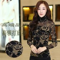 Autumn 2014 plus size clothing top empty thread basic shirt long-sleeve turtleneck shirt gauze lace shirt