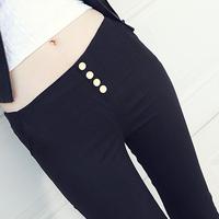 Fashion Women Trousers All-match 100% Woven Cotton Buckle Elastic Waist Pencil Pants Black White Female Leggings Capris