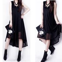 2014 summer plus size clothing chiffon irregular dress dovetail one-piece dress full dress