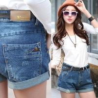 2014 autumn plus size clothing denim shorts female shorts slim high waist boot cut jeans women's