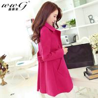 Free Shipping 2014 Spring new female Korean long section woolen coat lapel woolen cape coat  overcoat