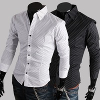2014 Hot sale Free Shipping New Mens Shirts Casual Slim Fit Stylish Mens Dress Shirts 100%cotton multi colors Plus size M-XXL