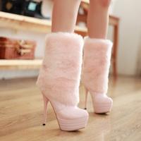 Free shipping Winter boots ultra high heels platform thin heels boots medium-leg japanned leather fur boots