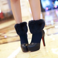 2014 autumn and winter boots ultra high heels sexy fur boots thin heels size all-match ankle boots