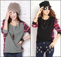 2014 autumn women's Women top medium-long plus size loose sweatshirt female long-sleeve t-shirt