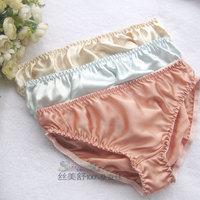 Mid waist WOMEN silk panties  mulberry silk briefs plus size M L XL  2XL 5pieces Free Shipping