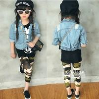 2014 autumn girls clothing hole denim clothing girl's outerwear denim top long-sleeve outwear children's clothes garment