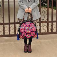 Free shipping! Embroidery handbag ,national women's trend handbag bag