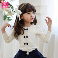 2014 new arrival spring and autumn lace long-sleeve 100% cotton female child basic shirt baby t-shirt top 2 - 6