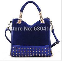 New collection 2014 fashion nubuck leather women's handbag rivet shoulder bag mesenger bags brand design
