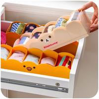 Japanese style bear relaxed plastic classification drawer socks storage box desktop storage box finishing
