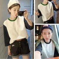 Three quarter sleeve o-neck t-shirt female color block loose t shirt