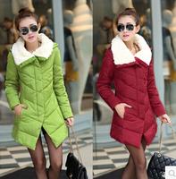 2014 women's slim duck down jacket  winter outerwear  cotton-padded long warm jacket size:L-3XL